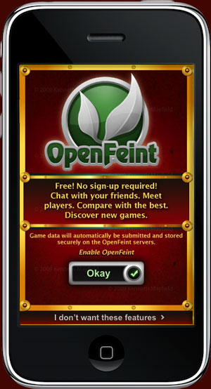 SteamPunk Hockey OpenFeint account approval screen